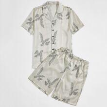 Guys Lapel Neck Plants Print Shirt & Shorts PJ Set