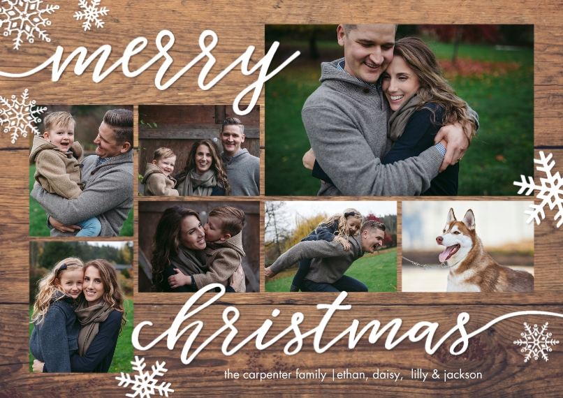 Christmas Photo Cards 5x7 Cards, Premium Cardstock 120lb with Rounded Corners, Card & Stationery -Christmas Script Woodgrain by Tumbalina