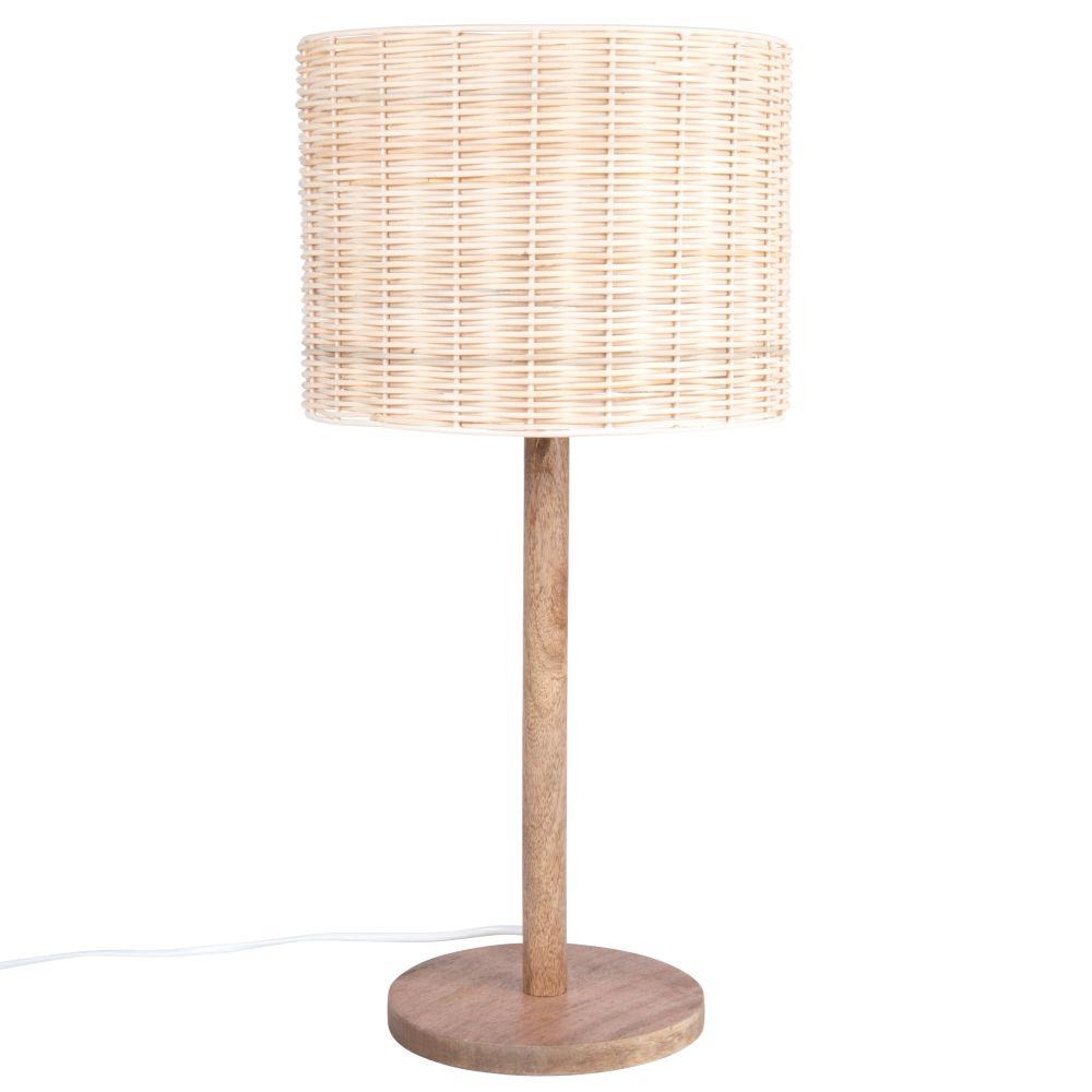 Lampe aus Mangoholz und Rattan