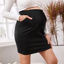 Maternity Drawstring Paperbag Waist Rib-knit Skirt