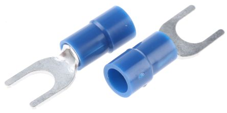 RS PRO Insulated Crimp Spade Connector, 1.5mm² to 2.5mm², 16AWG to 14AWG, M5 Stud Size Vinyl, Blue (100)