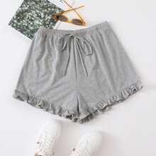 Shorts mit Knoten um die Taille und Rueschenbesatz