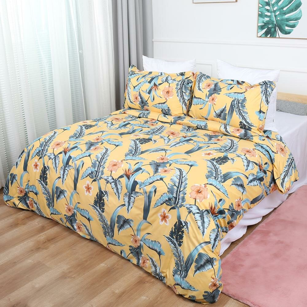 Euramerica Style Leaves Bedding Set Bed Decor Bedclothes Pillowcases US Twin Queen King Bed Linen Set Adults Bed Duvet C