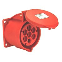 RS PRO IP67 Red Panel Mount 6P+E Industrial Power Socket, Rated At 16.0A, 415.0 V
