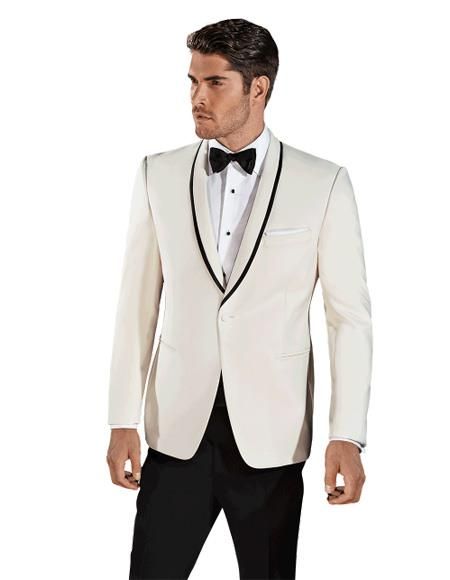 Men's Single Breasted Cream ~ Ivory Shawl Lapel One Button Tuxedo