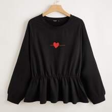 Sweatshirt mit Herzen Muster, Raglanaermeln und Ruesche