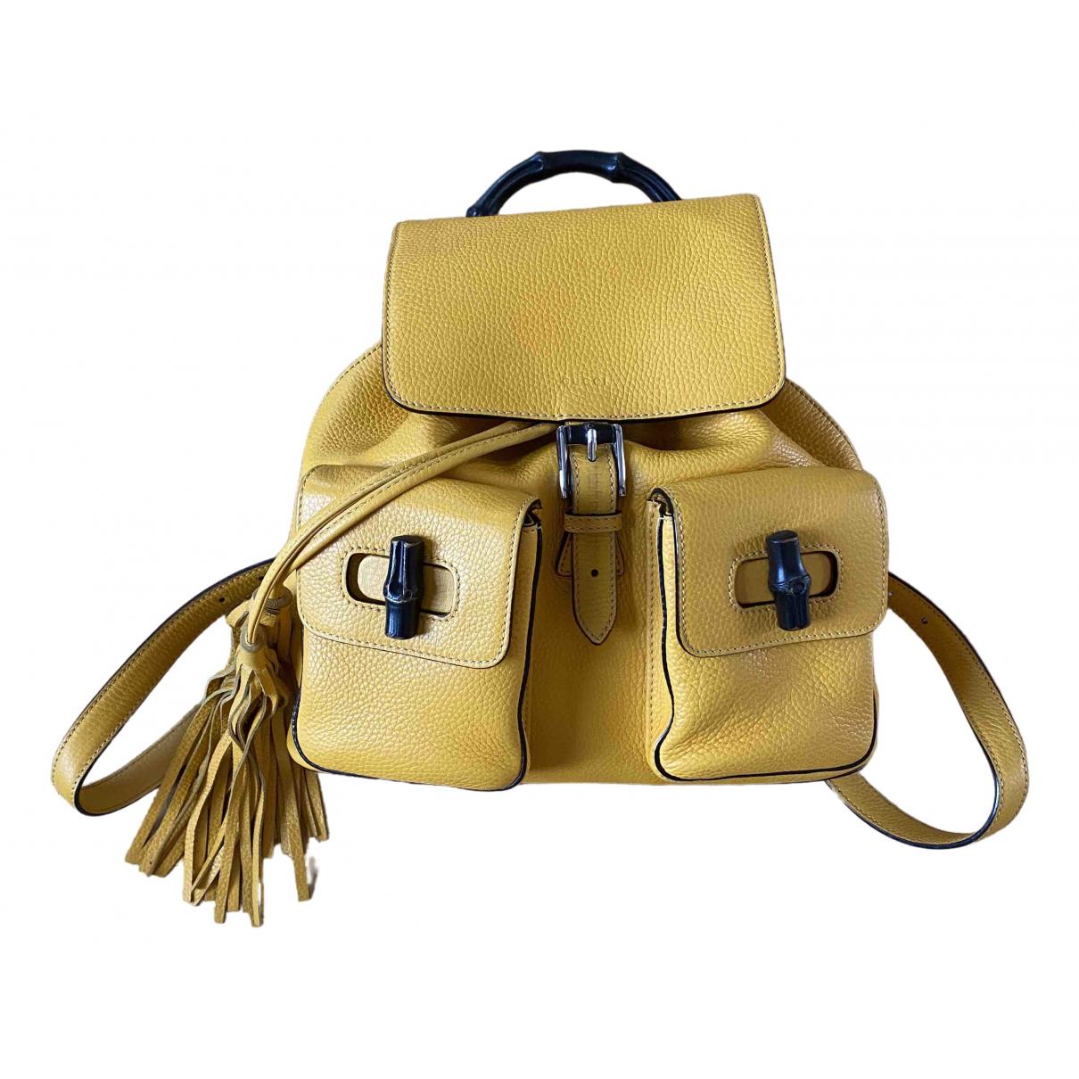 Gucci Bamboo Rucksaecke in  Gelb Leder