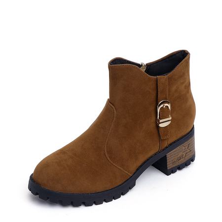 Yoins Brown Suede Chunky Ankle Boots