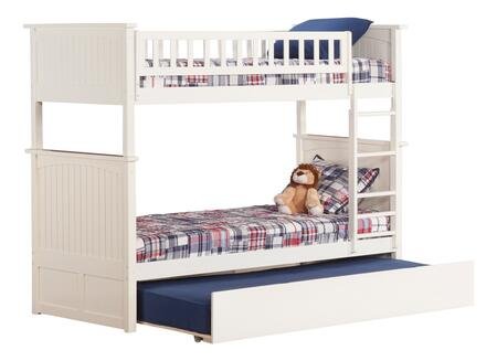 AB59152 Nantucket Bunk Bed Twin over Twin with Twin Size Urban Trundle Bed in