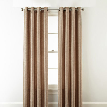 JCPenney Home Westfield Light-Filtering Grommet-Top Single Curtain Panel, One Size , Brown