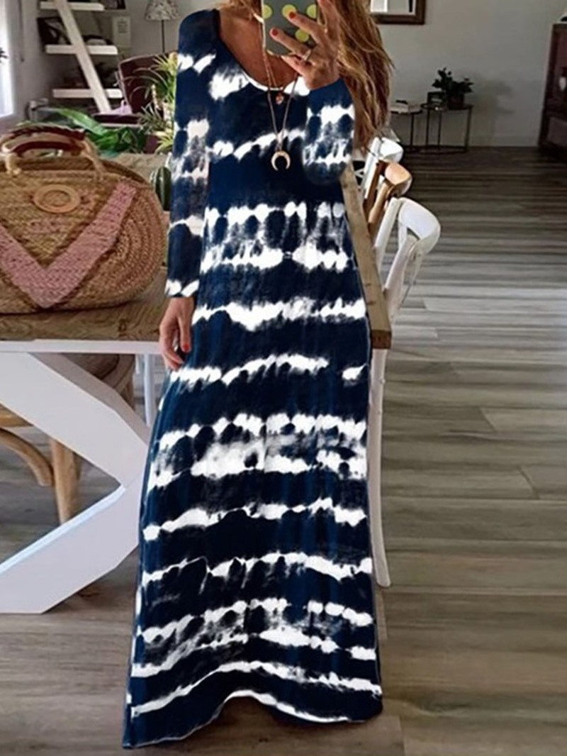 Ericdress Print Sleeveless Floor-Length A-Line Spaghetti Strap Dress