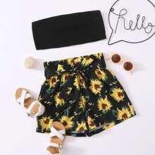 Crop Tube Top & Shorts mit Sonnenblumen Muster und Guertel Set