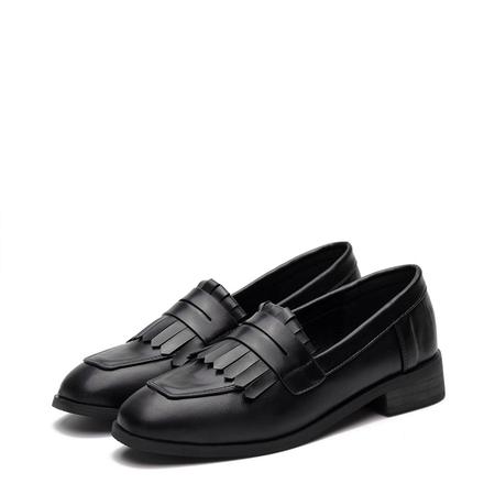 Yoins Black Leather Look Fringed Toe Chunky Heel Slip-on Loafers