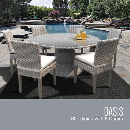 Monterey Collection MONTEREY-60-KIT-6C-BEIGE Patio Dining Set with 1 Table   6 Side Chairs - 2 Sets of Beige