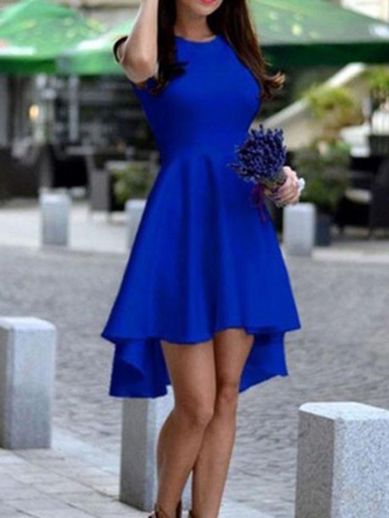 Ericdress Knee-Length Sleeveless Asymmetric Plain Dress