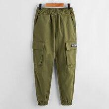 Boys Letter Graphic Flap Pocket Cargo Pants