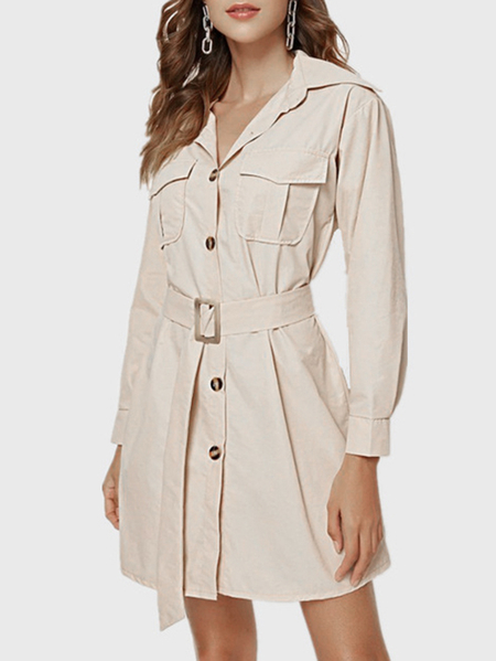 Yoins Apricot Belt Design Classic Collar Long Sleeves Dress