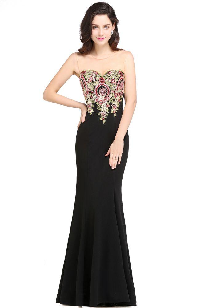ALYSON | Sheath Straps Floor Length Black Evening Dresses with Appliques