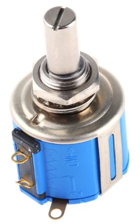 Bourns 1 Gang Rotary Wirewound Potentiometer with an 6.35 mm Dia. Shaft - 5kΩ, ±5%, 1W Power Rating, Linear, Panel Mount