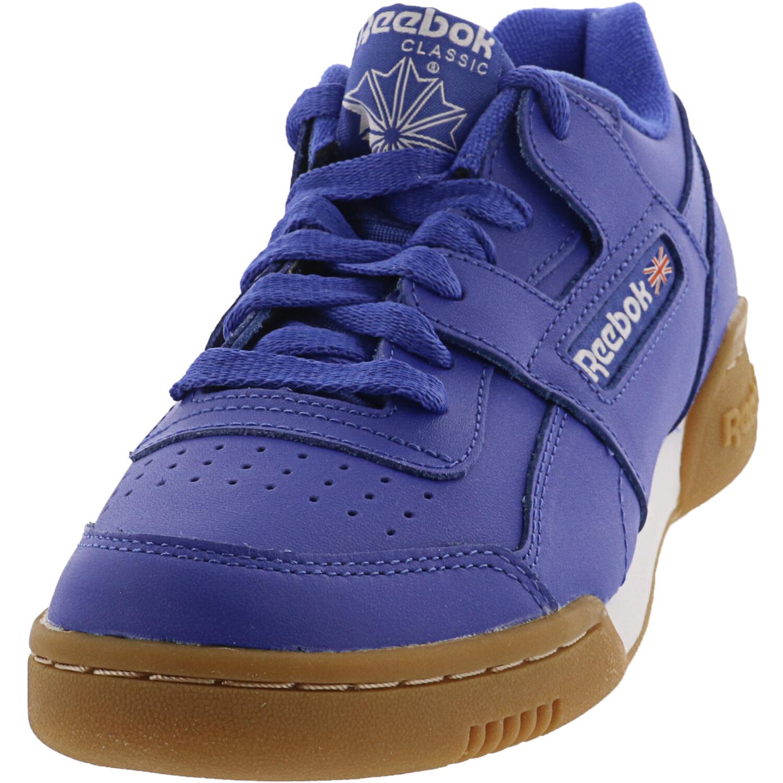 Reebok Men's Workout Plus Mu Crushed Cobalt / White Gum Low Top Leather Training Shoes - 4M