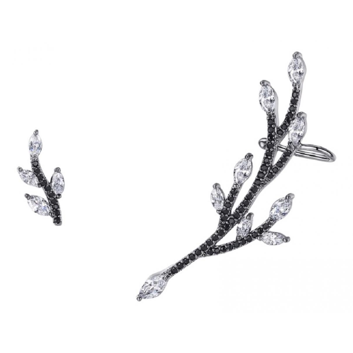 - Boucles doreilles Motifs Floraux pour femme en metal - noir