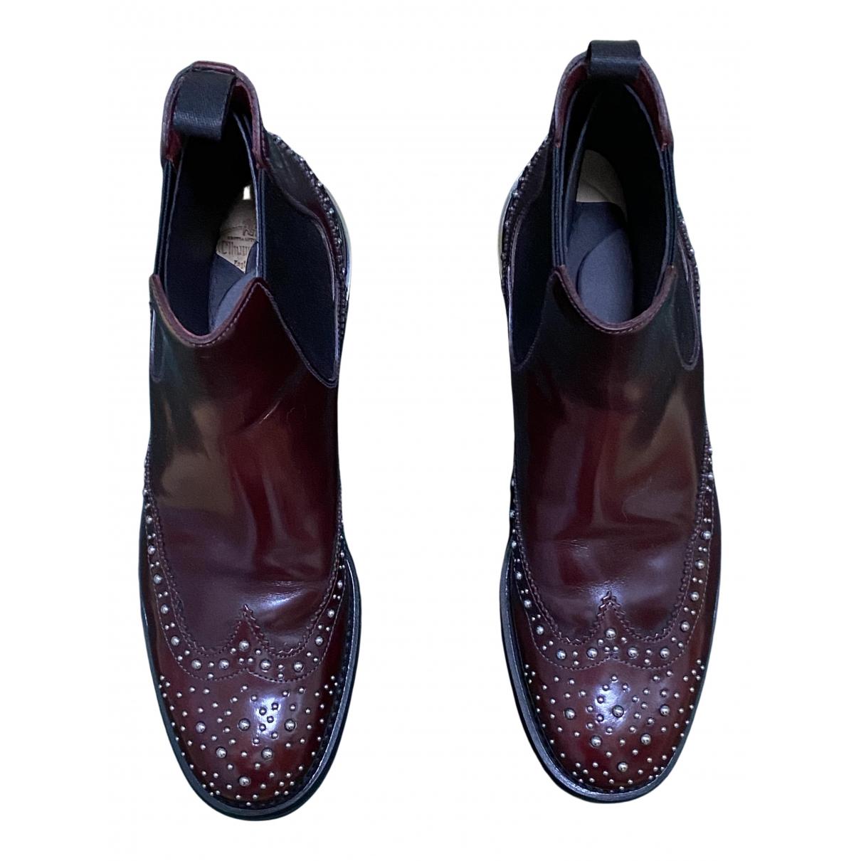 Churchs - Boots   pour femme en cuir - bordeaux