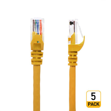 3FT Cat6 550MHz UTP 24AWG RJ45 Ethernet Network Cable - Yellow - PrimeCables® - 5/Pack