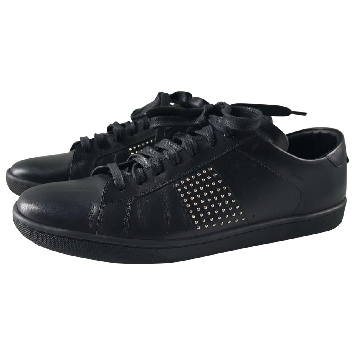 Saint Laurent Court Black Leather Trainers for Women 42 EU