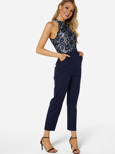 Yoins Navy Lace Insert Halter Sleeveless Jumpsuit