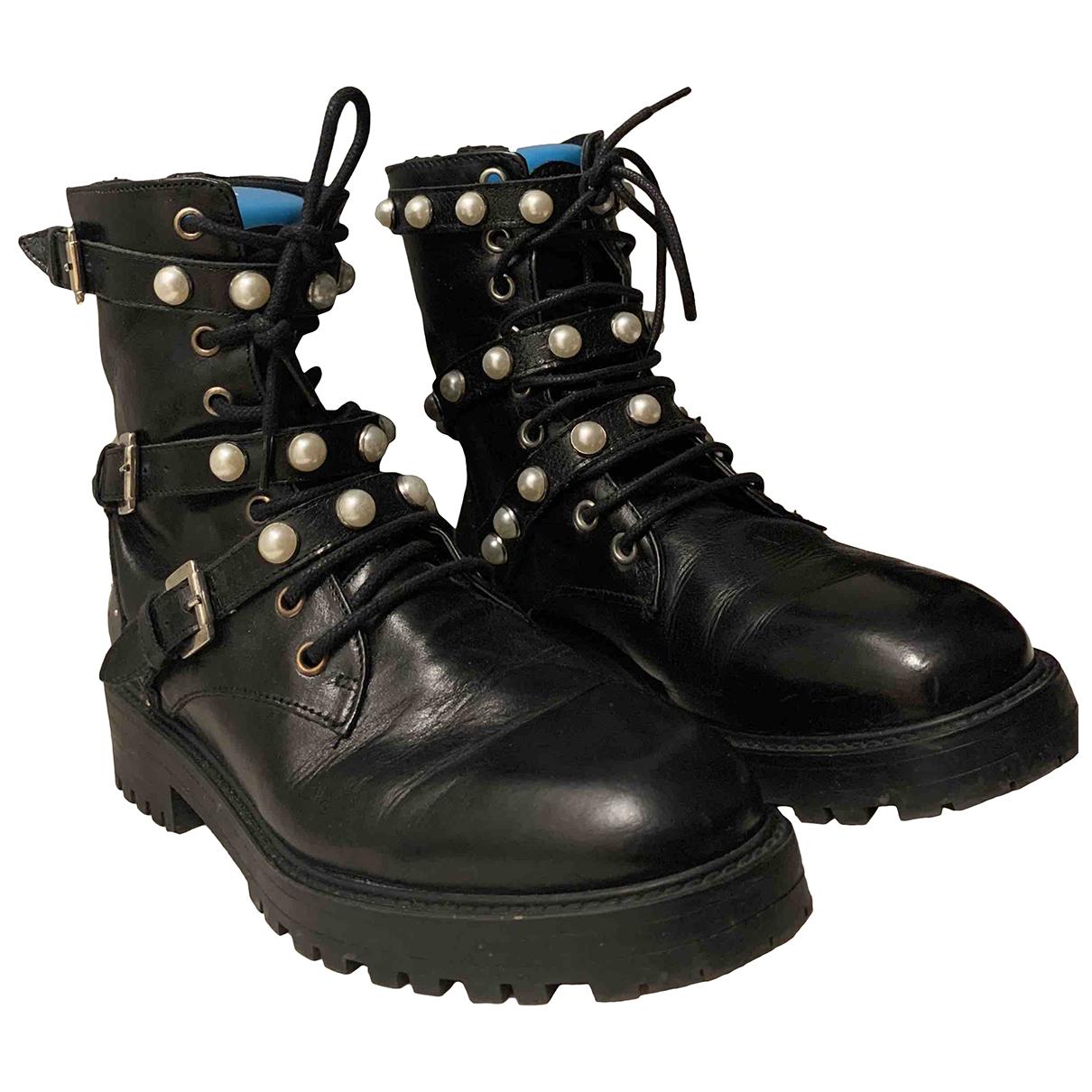 Zara N Black Leather Boots for Women 38 EU