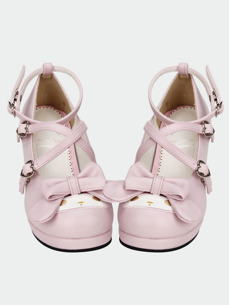 Milanoo Sweet Lolita Shoes Pink Cross Bow High Heels Pumps Cute Ankle Strap Lolita Shoes With Special-shaped Heels
