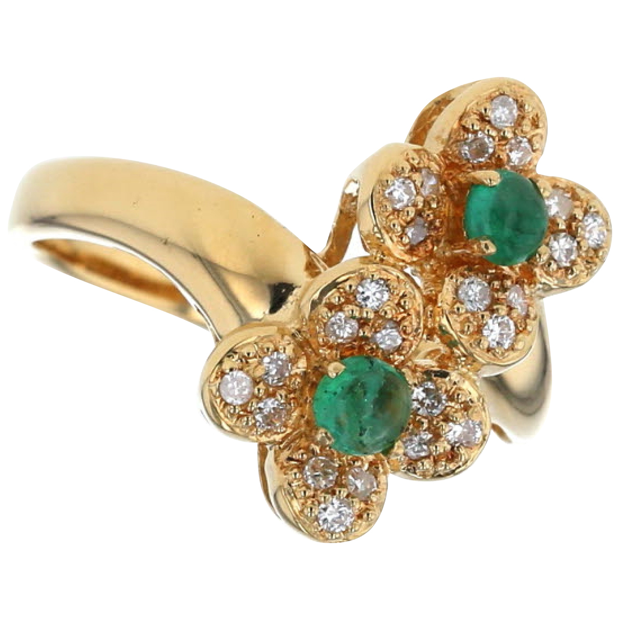 Non Signé / Unsigned Motifs Floraux Multicolour Yellow gold ring for Women 6 ¼ US