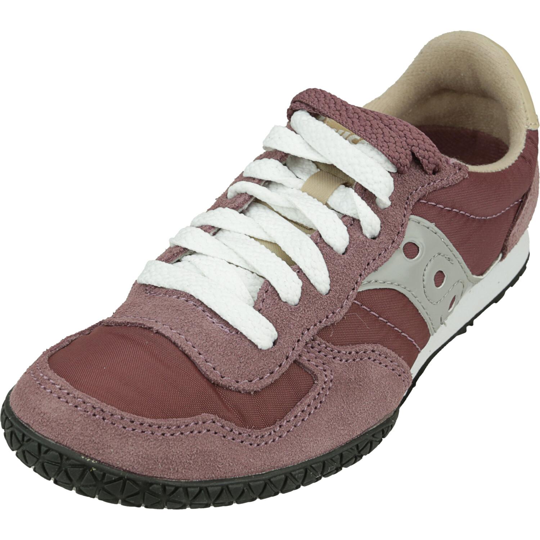 Saucony Women's Bullet Maroon / Tan Low Top Leather Sneaker - 5M