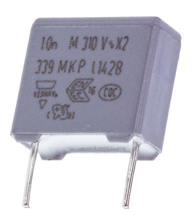 Vishay 10nF Polypropylene Capacitor PP 310V ac ±20% Tolerance Through Hole MKP 339 Series (10)