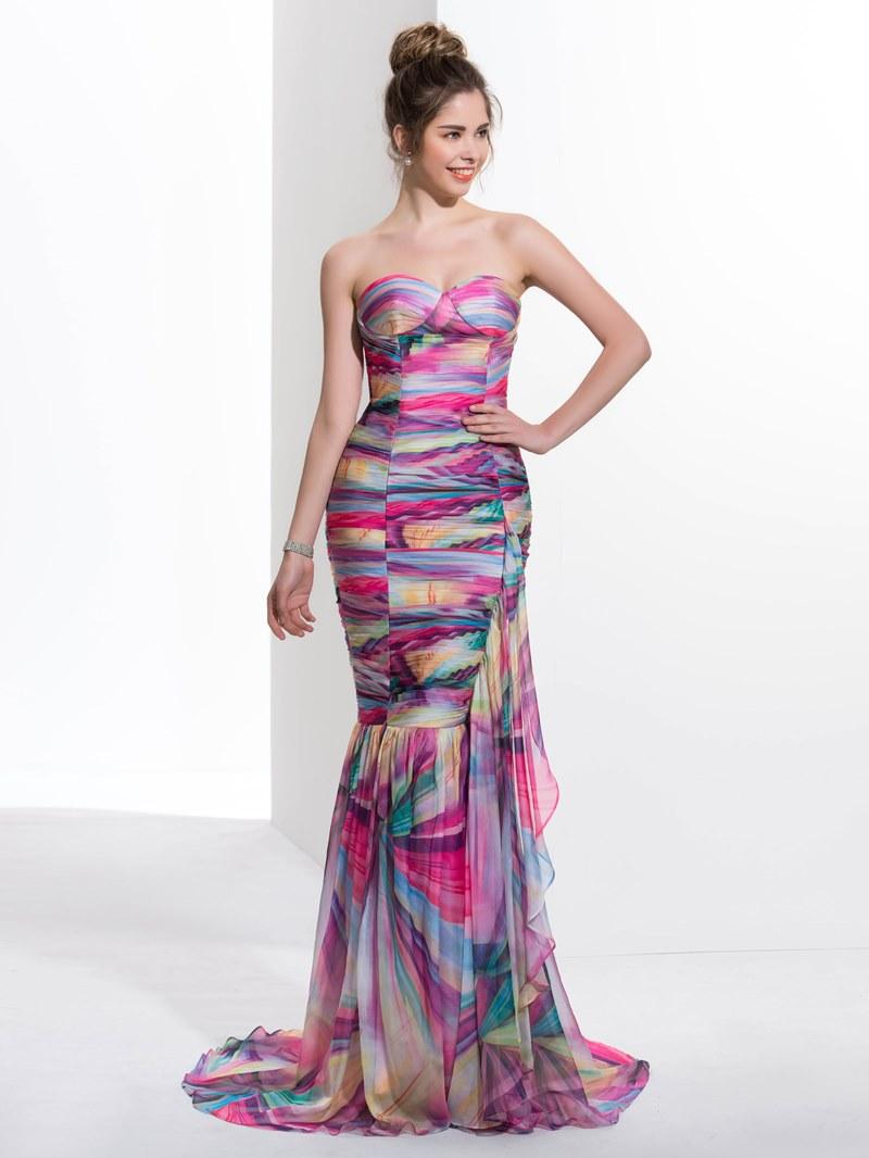 Ericdress Mermaid Sweetheart Pleats Printed Ruched Ruffles Sweep Train Prom Dress