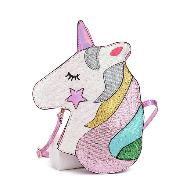 Women Cute Crossbody Bag Sweet Unicorn Stitching Shoulder Bag