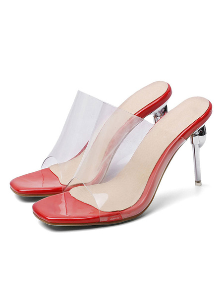 Milanoo Women\s Transparente Clear Slides White Sandals Square Toe Stiletto Heel Summer Shoes