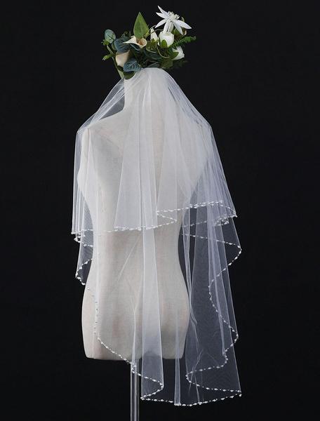 Milanoo Ivory Wedding Veil Tulle Pearls One Tier Beaded Bridal Veils