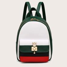 Rucksack mit Taschen vorn und Farbblock