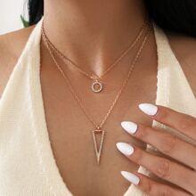 2 piezas collar con diseño geometrico con diamante de imitacion