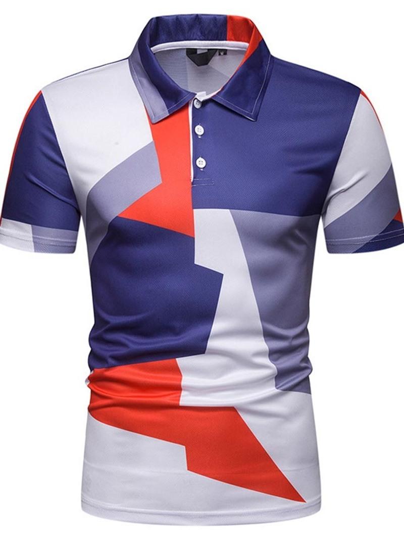 Ericdress Print Casual Lapel Polo Men's Shirt