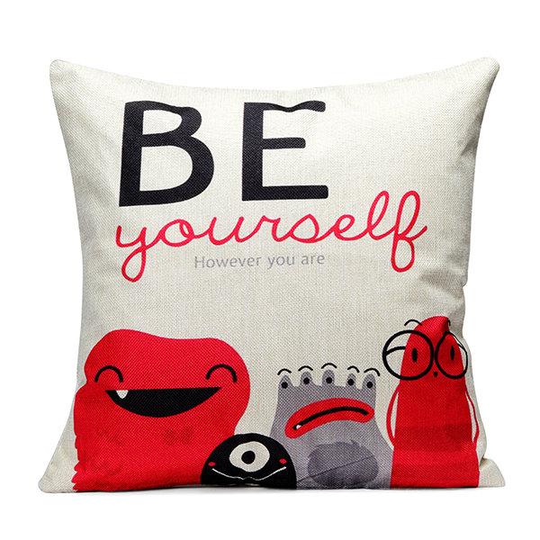 Colorful World Map Fashion Cushion Cover Cartoon Cotton Linen Pillow Case Home Sofa Decor