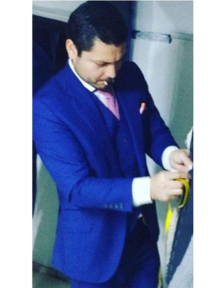Men's Alberto Nardoni 2 Button Royal Blue Classic Peak Lapel Suit