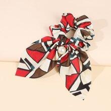 Geometric Pattern Bow Decor Scrunchie