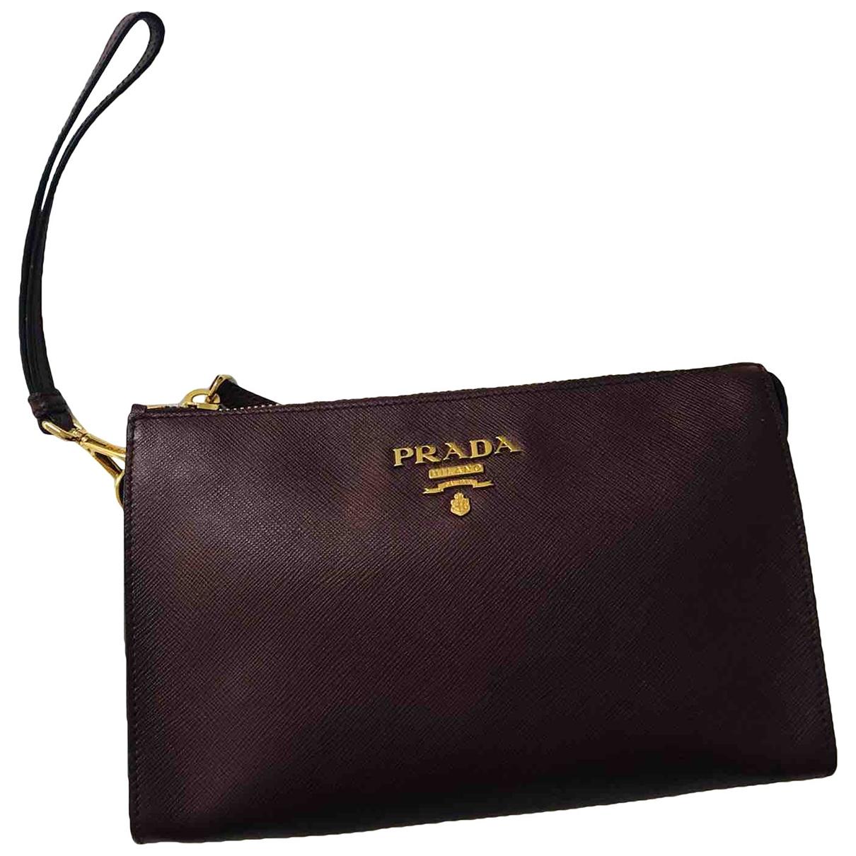 Prada \N Burgundy Leather Clutch bag for Women \N