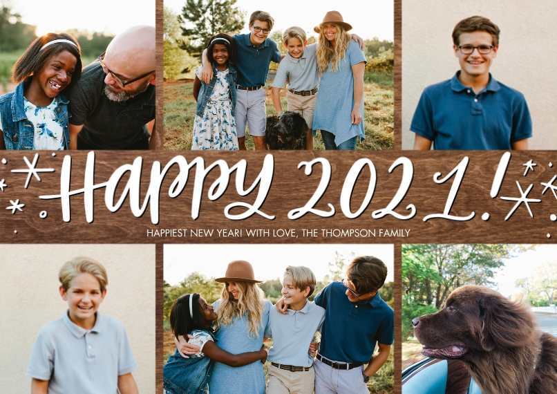 New Year's Photo Cards 5x7 Cards, Premium Cardstock 120lb, Card & Stationery -2021 Happy Stars by Tumbalina