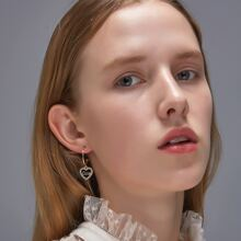 1pair Rhinestone Decor Heart Drop Earrings