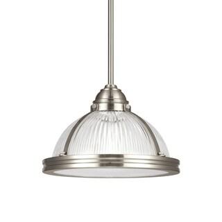 Sea Gull Pratt Street Prismatic 1-light Clear Ribbed Glass Pendant (Brushed Nickel)