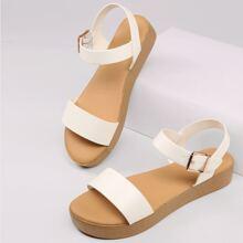 Open Toe Buckled Ankle Flatform Sandals