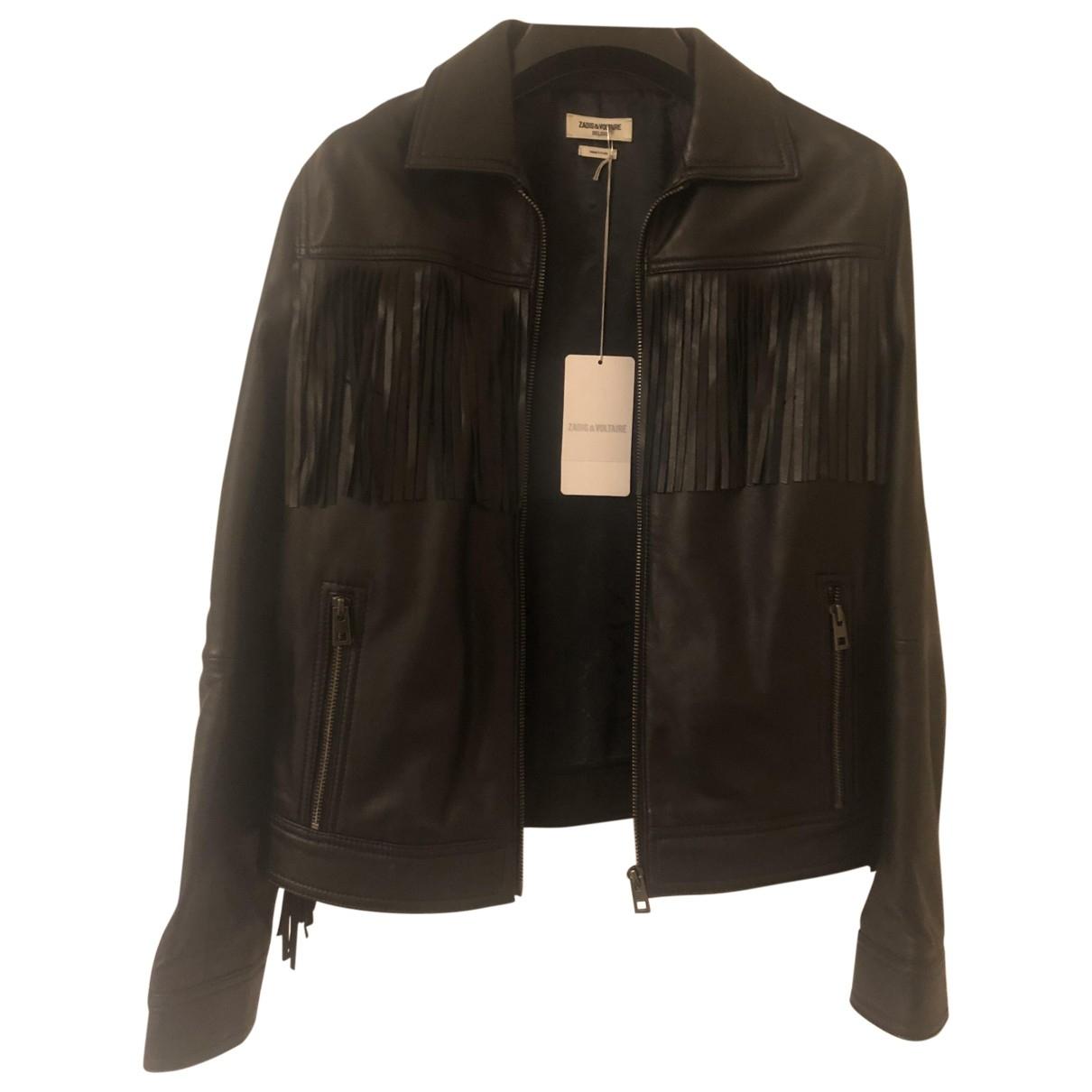 Zadig & Voltaire - Blouson   pour femme en cuir - noir